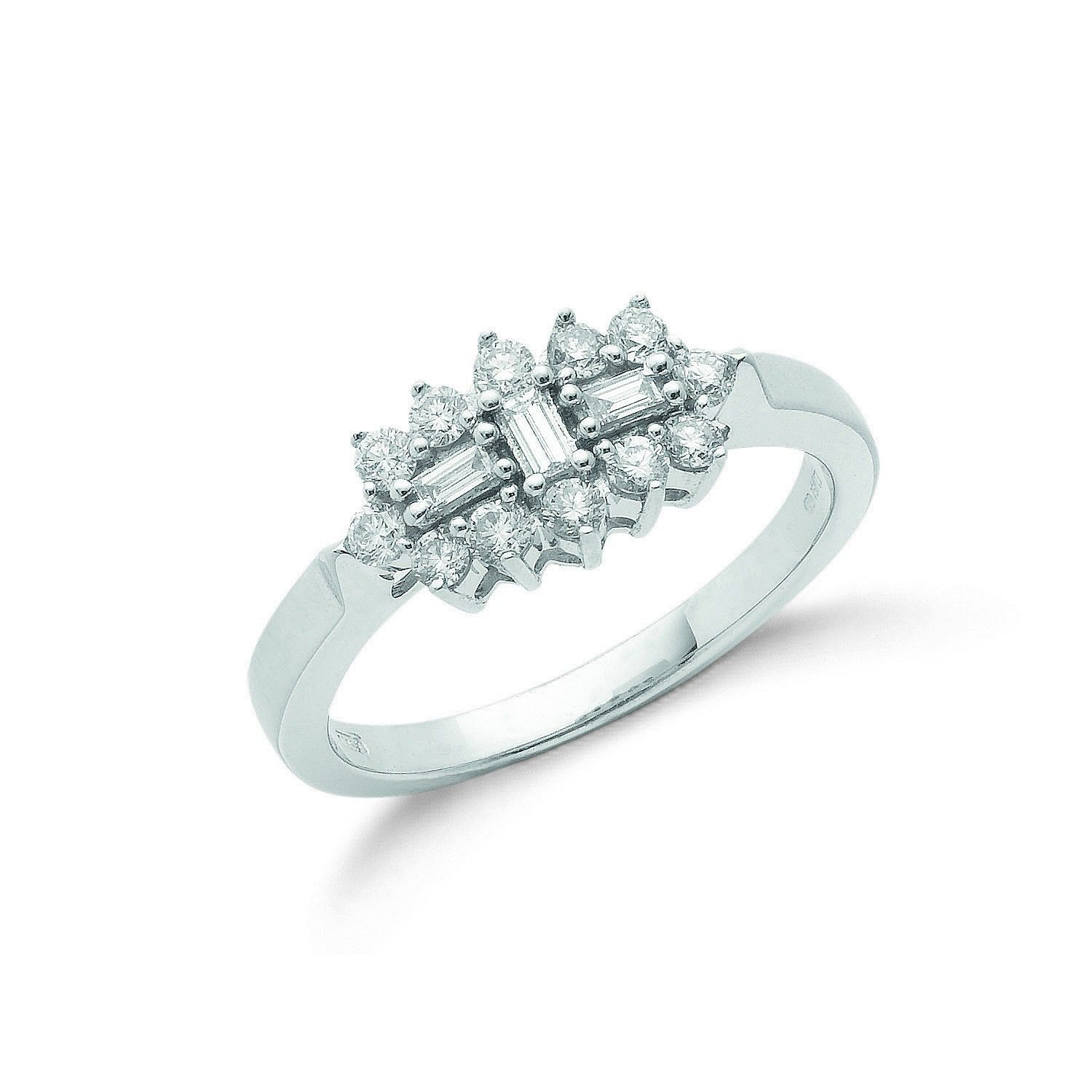 18ct White Gold 0.50cts Diamond Boat/Cluster Ring Diamond Gold