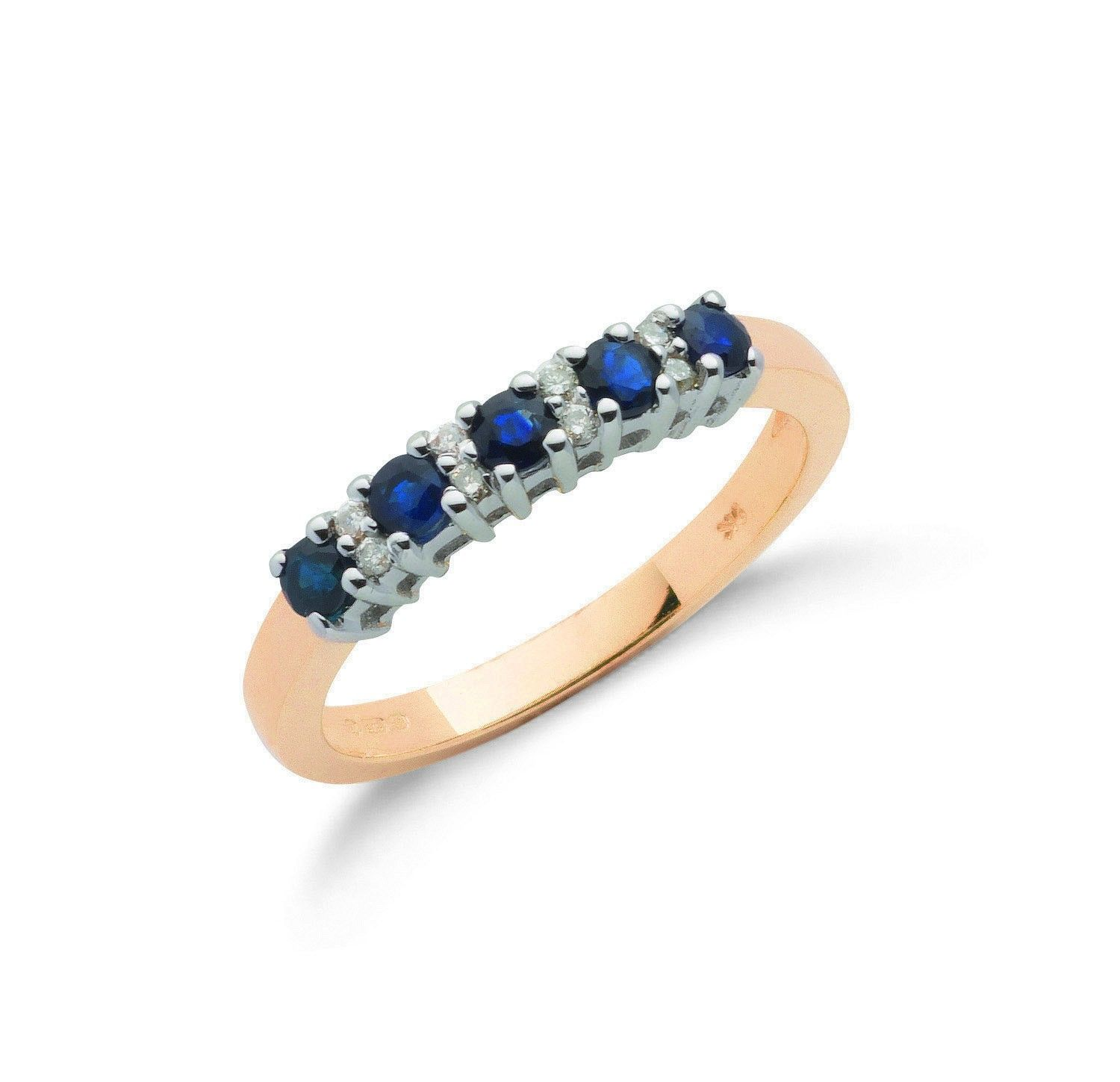 9ct Yellow Gold Diamond and Blue Sapphire Ring Sapphire Gold