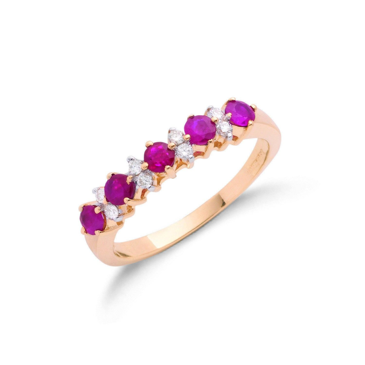9ct Yellow Gold Diamond and Ruby Ring 3.5mm Ruby Gold