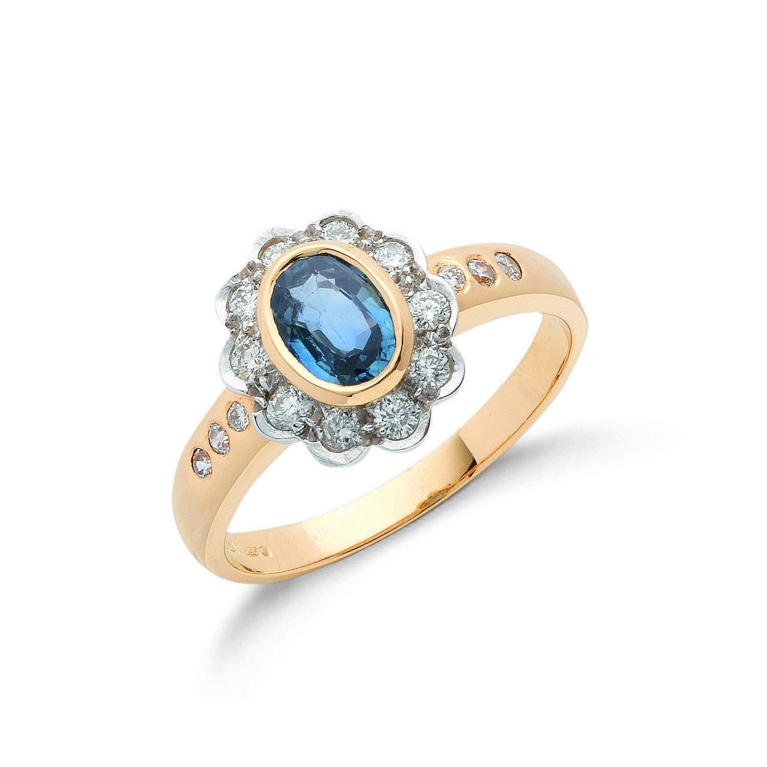 18ct Yellow Gold 0.90ct Blue Sapphire & 0.36ct Diamond Cluster Ring Topaz Gold
