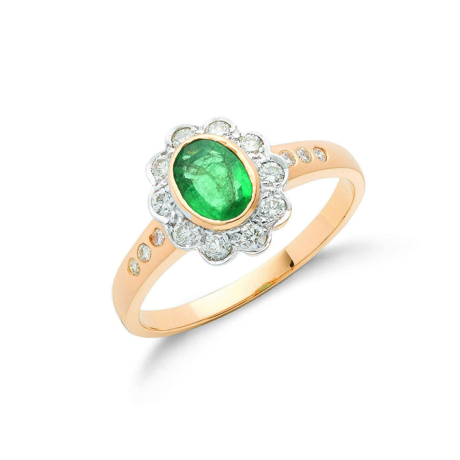 18ct Yellow Gold 0.36ct Diamond & 0.75ct Emerald Cluster Ring Emerald Gold