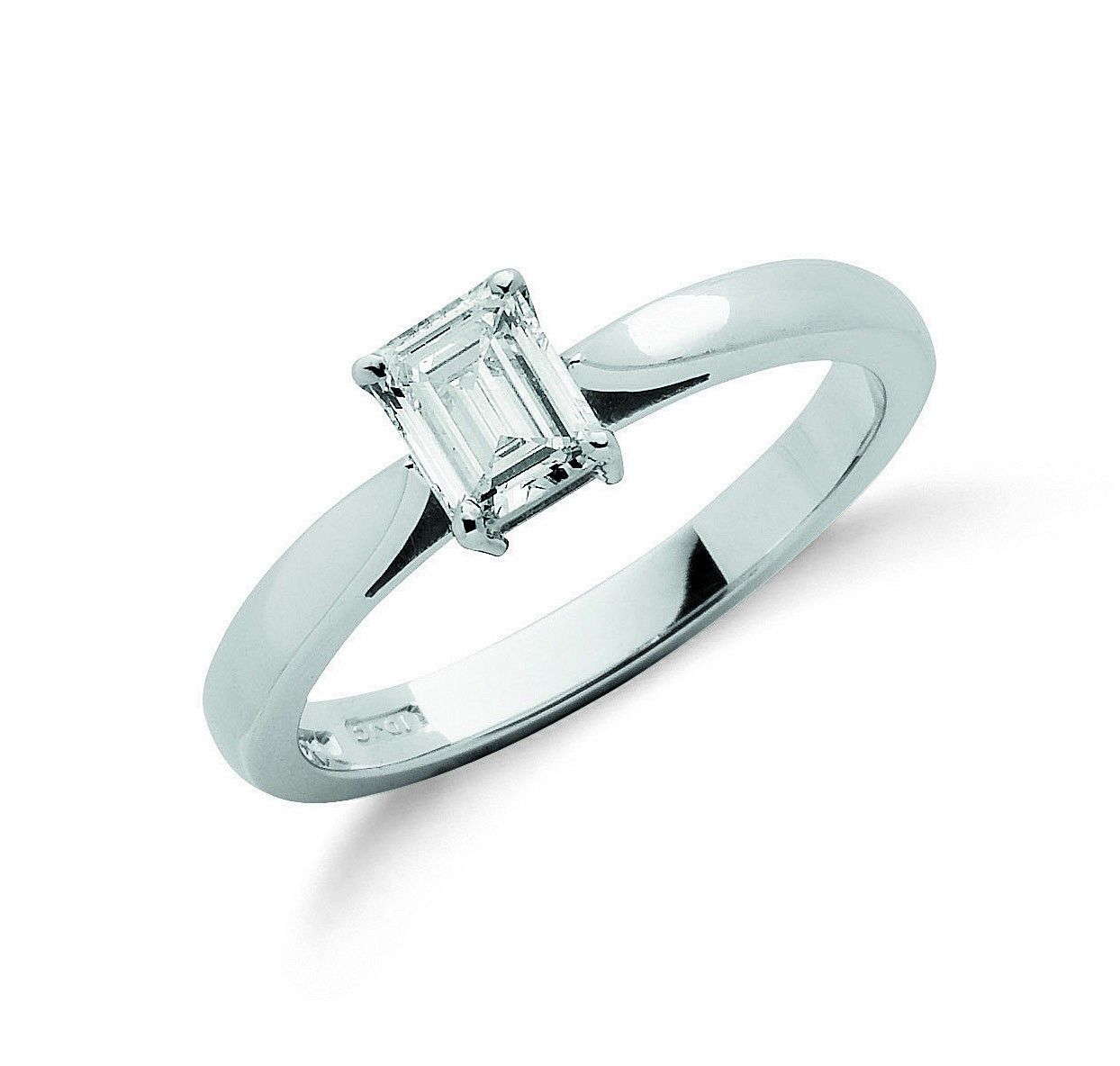 18ct White Gold 0.50cts Emerald Cut Diamond Engagement Ring