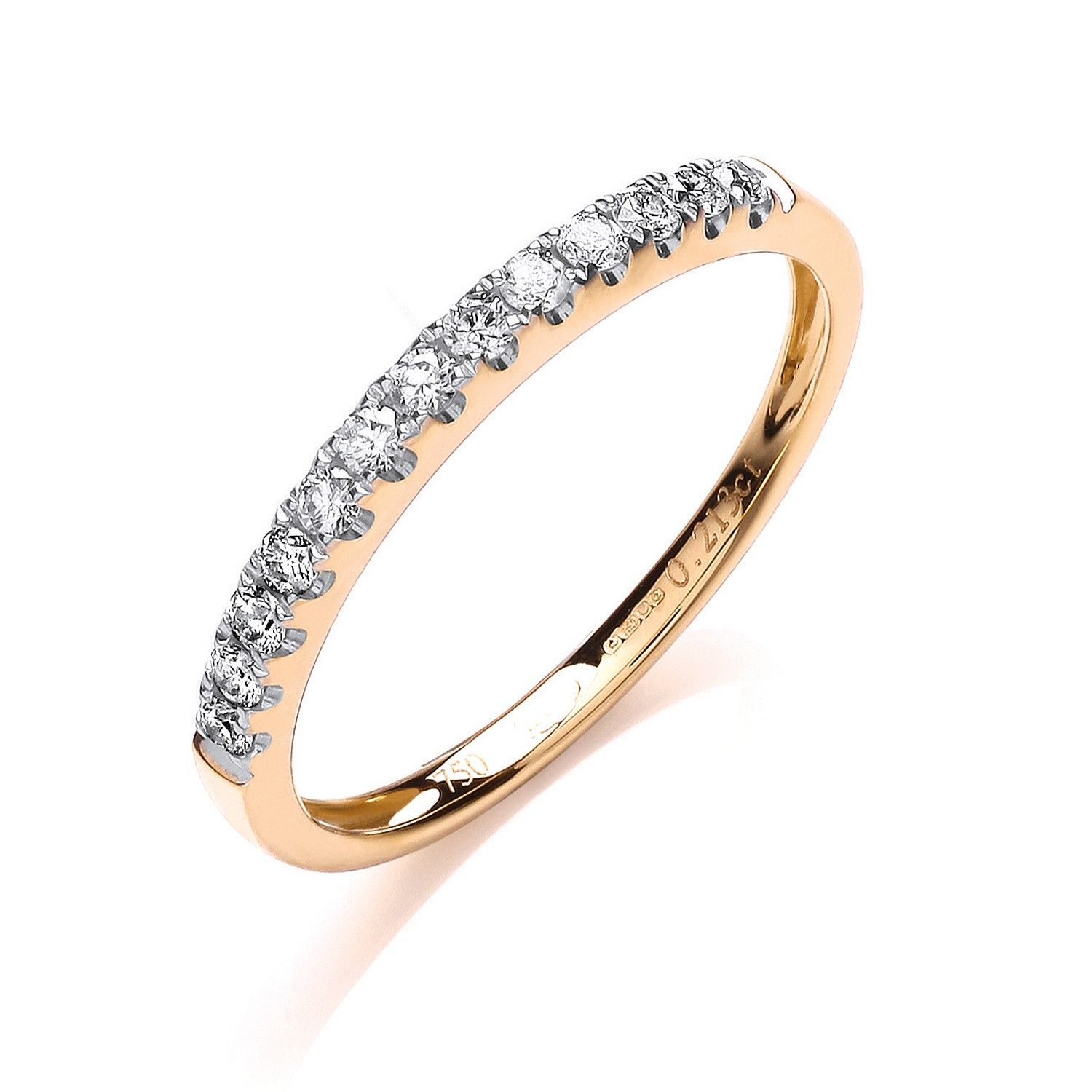 18ct Yellow Gold 0.20cts Half Eternity Ring 2mm Gold