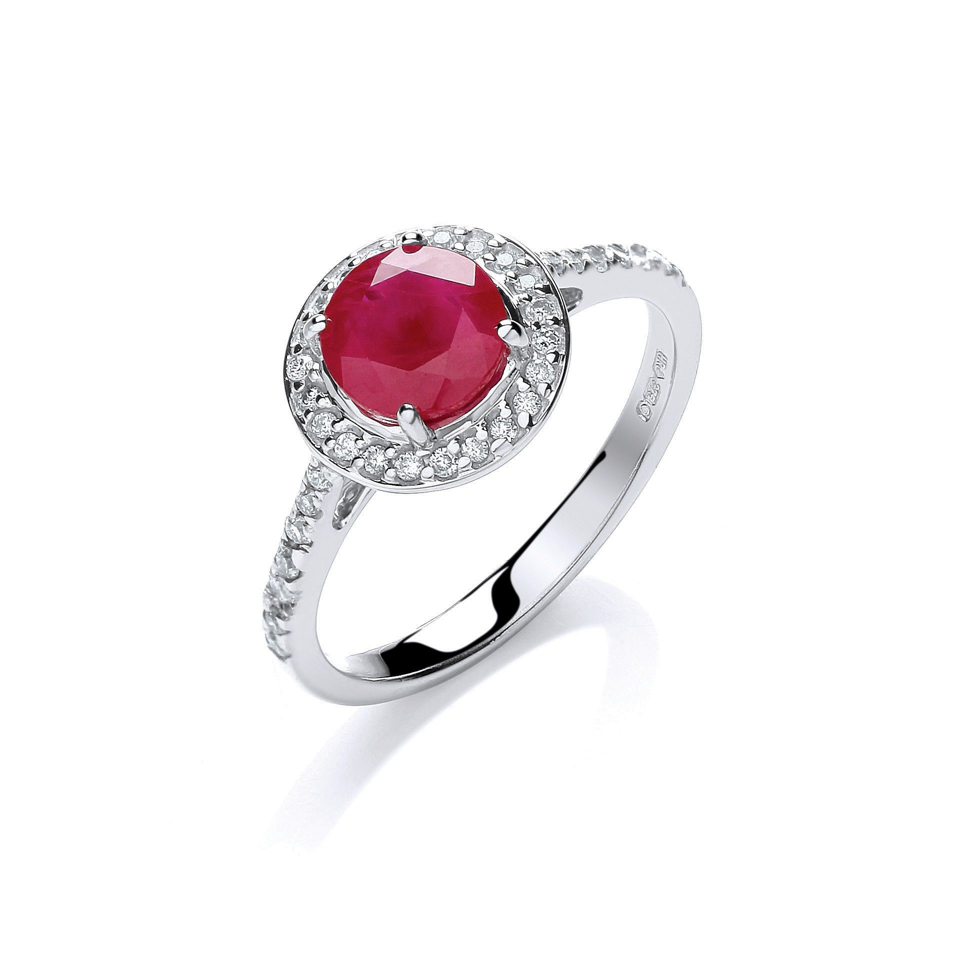 9ct White Gold 0.20ct Diamond, 0.70ct 5mm Ruby Ring Ruby Gold