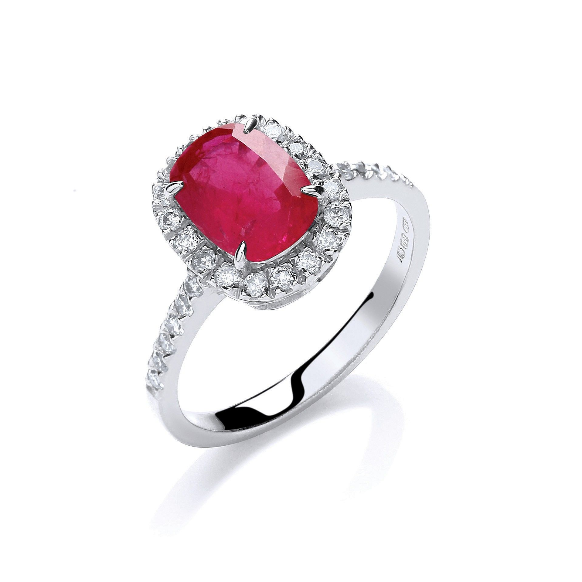 18ct White Gold 0.25cts Diamond and 1.9cts Ruby Ring Ruby Gold
