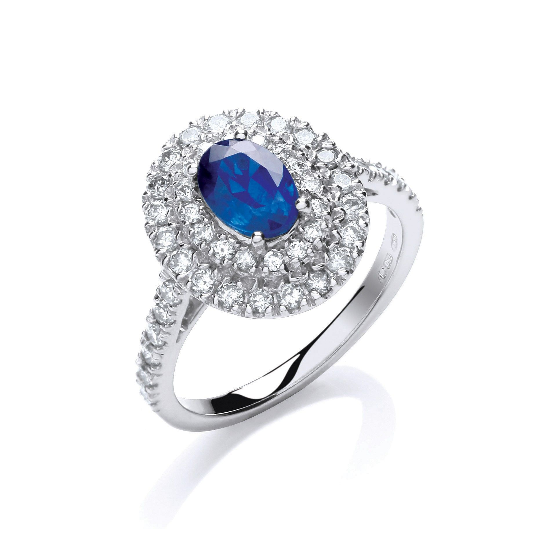 18ct White Gold Oval 1.0ct Sapphire Ring  Surrounded it by 0.60ct of Diamonds Sapphire Gold