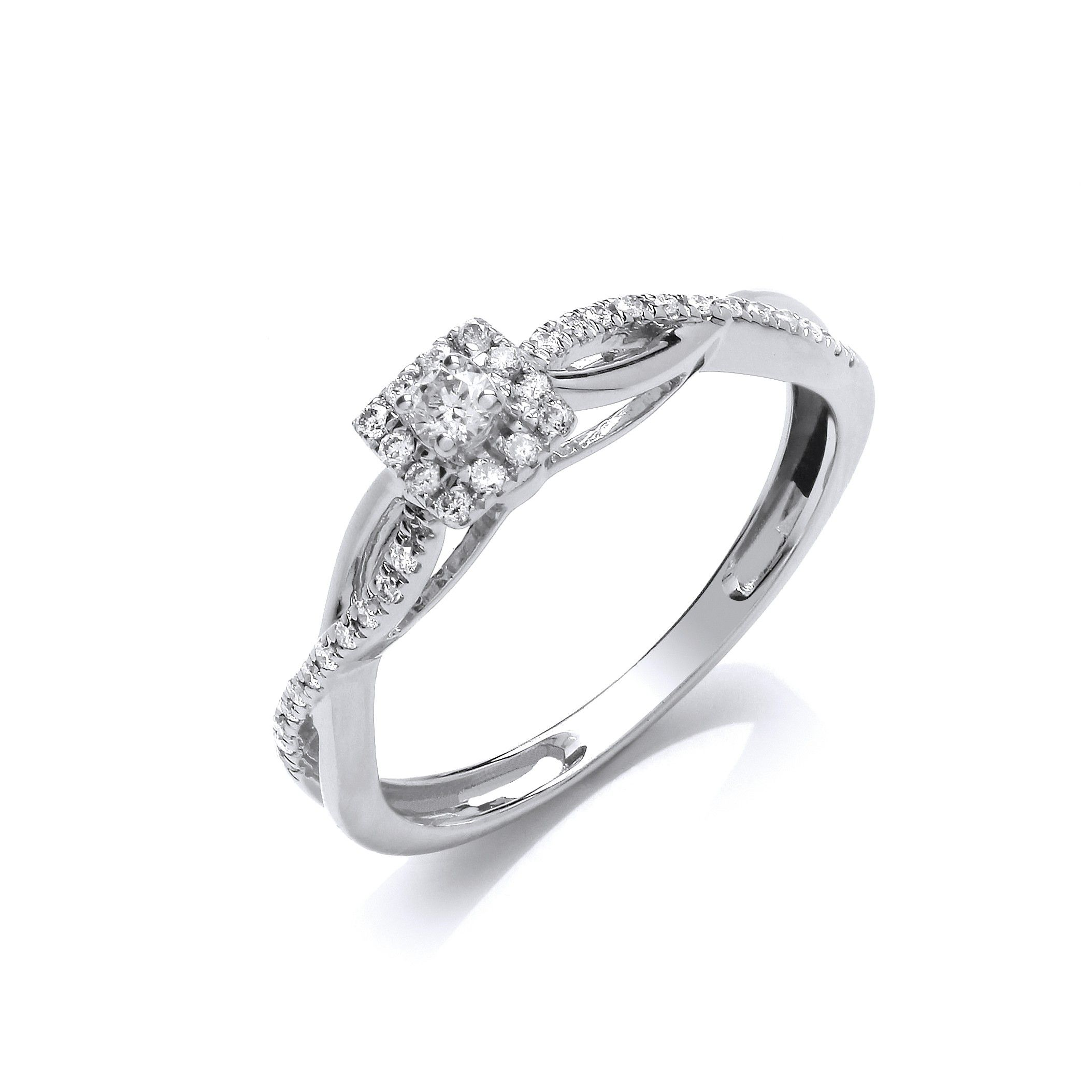 9ct White Gold 0.20ct Diamond Solitaire Style Ring Diamond Gold
