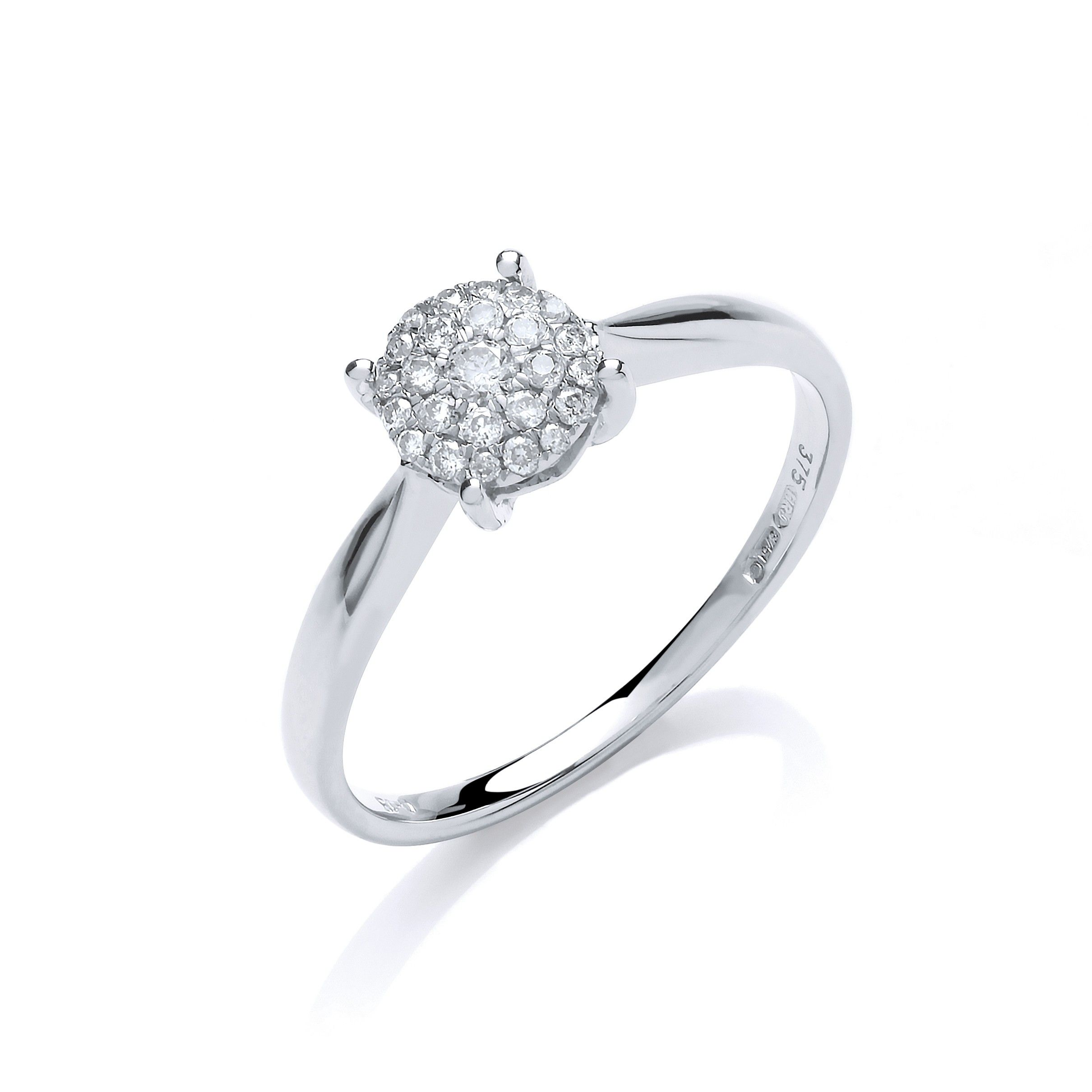 9ct White Gold 0.15cts Diamond Pave Solitaire Ring
