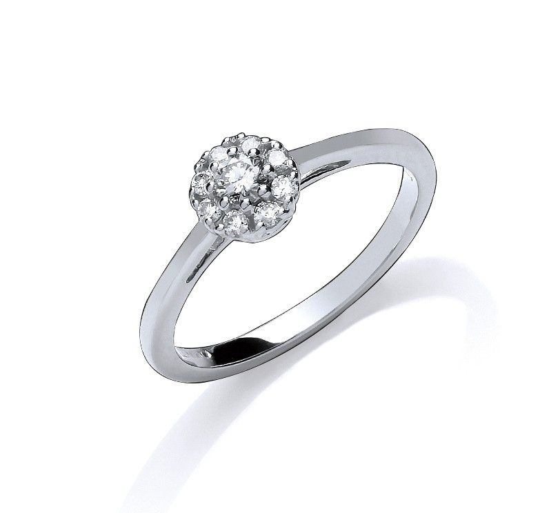 9ct White Gold Claw Set Cluster 0.20ct Diamond Ring