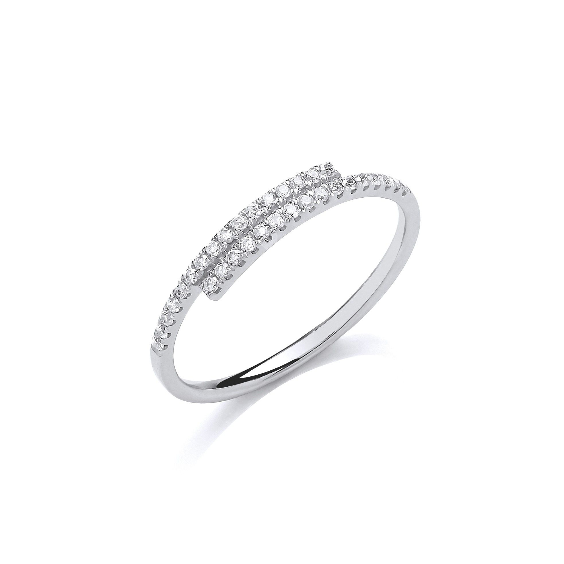 9ct White Gold 0.16ct Crossover Dress Ring