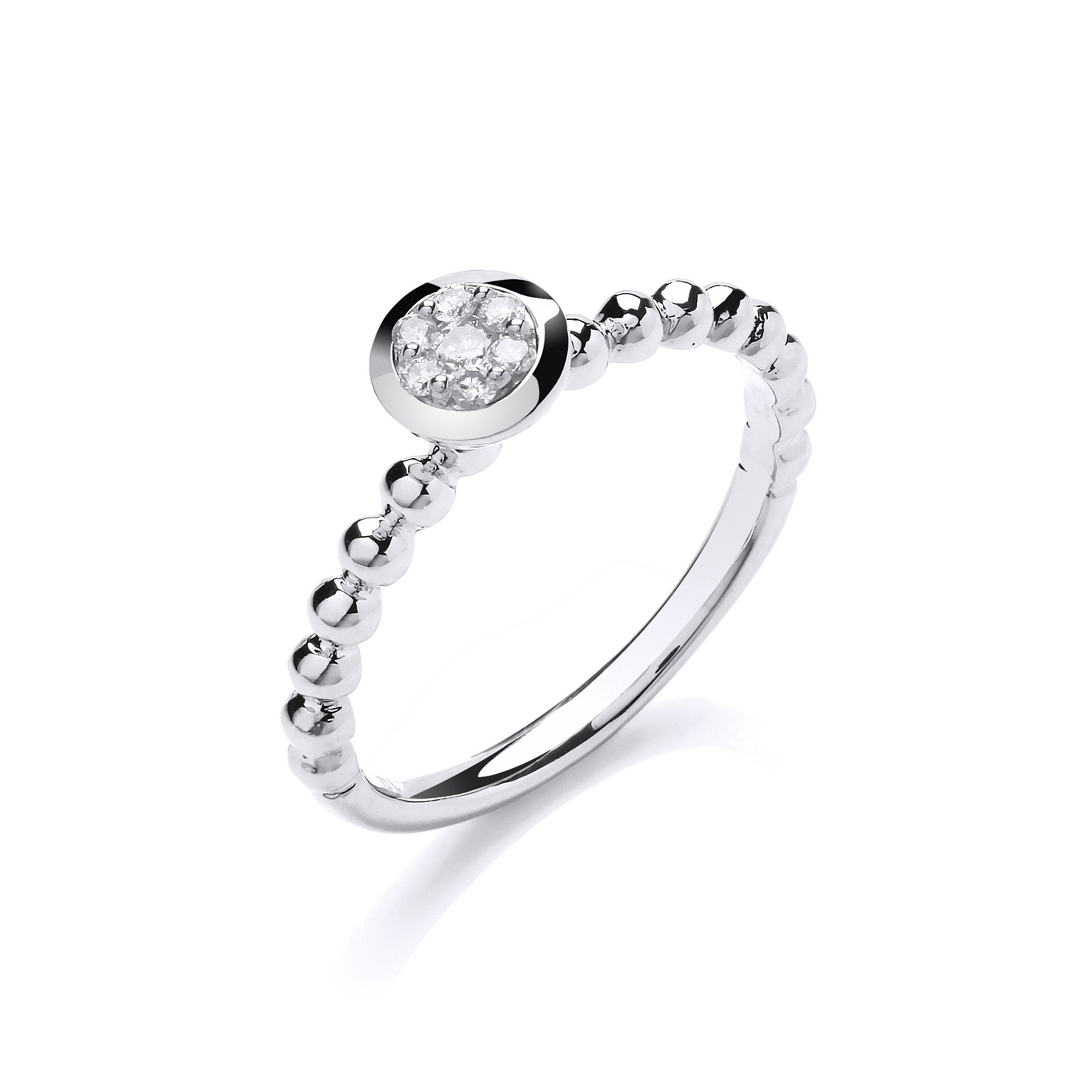 9ct White Gold 0.10ct Fancy Beaded Shank Ring
