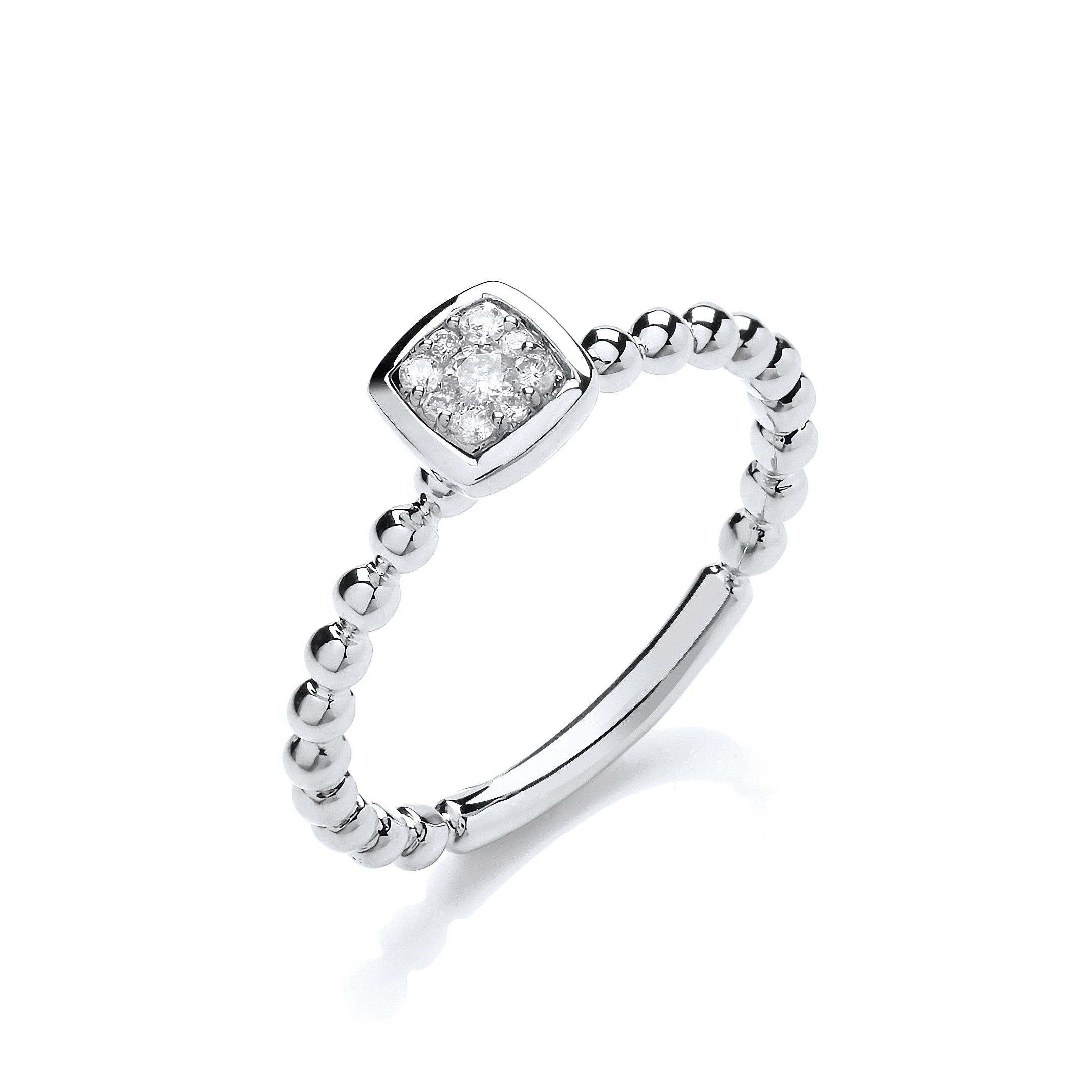 9ct White Gold 0.10ct Beaded Shank Square top Ring
