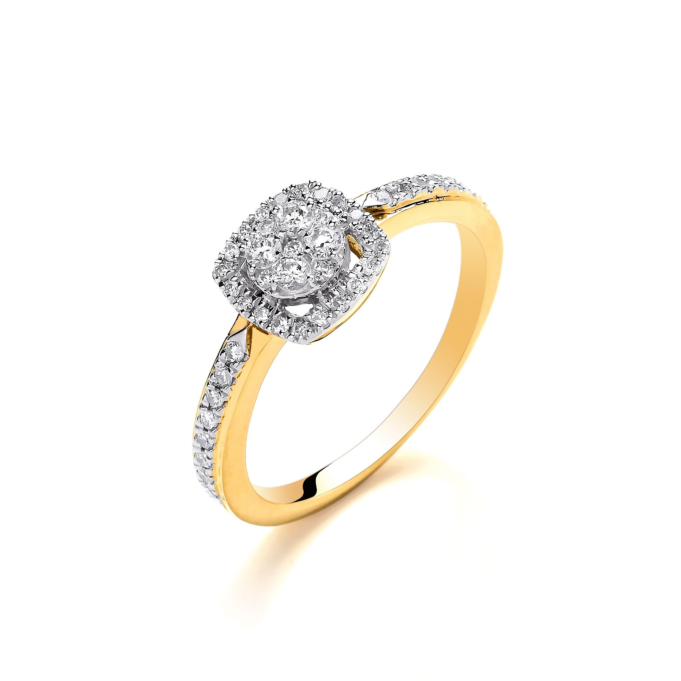 18ct Yellow Gold Square Halo Style 0.32ct Diamond Ring