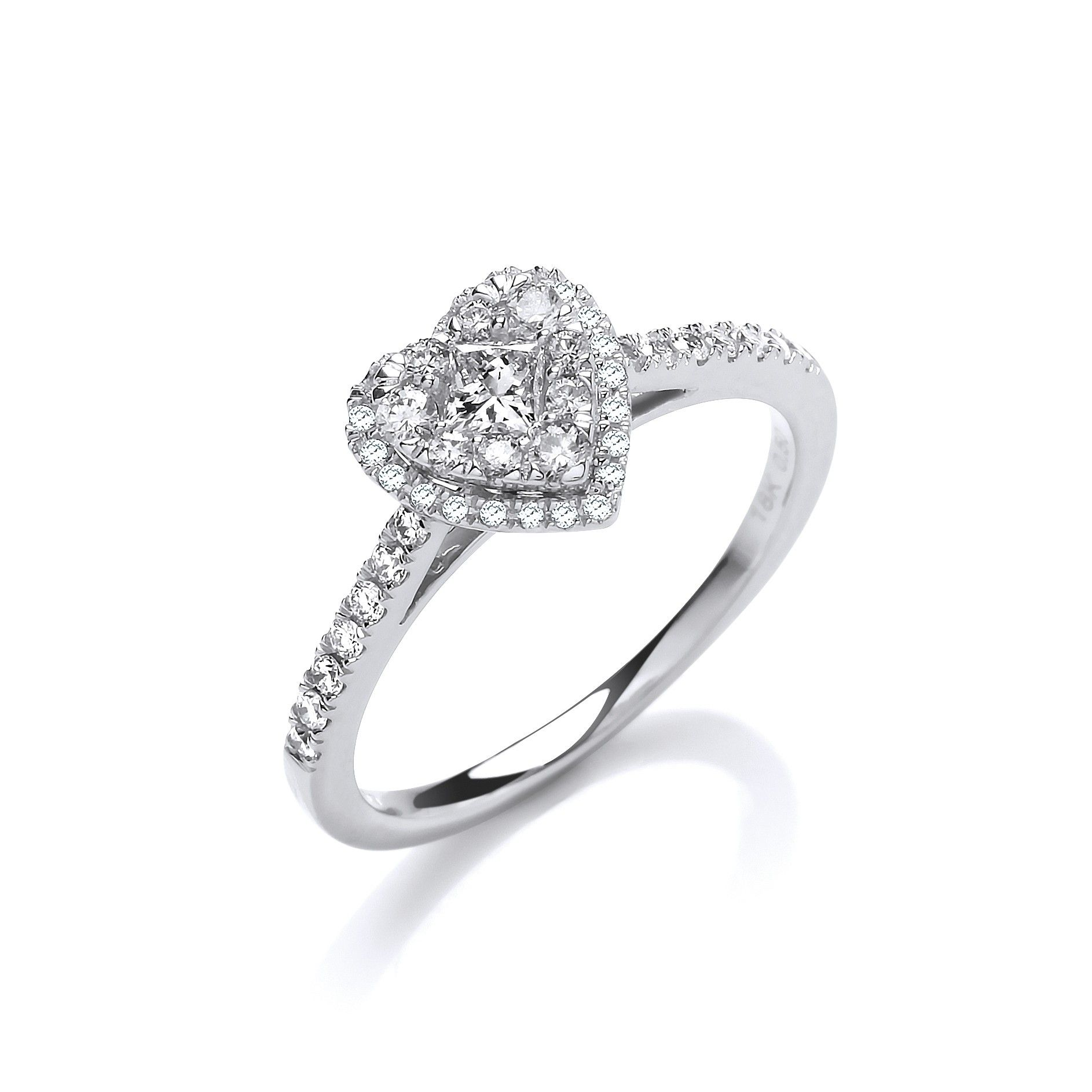 18ct white gold Heart Shaped 0.50cts Dress Ring.