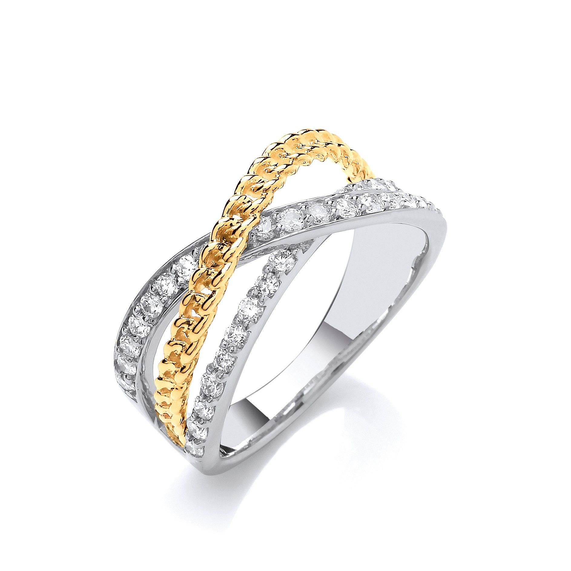 9ct White & Yellow Gold Cross Over 0.50cts Diamond Ring