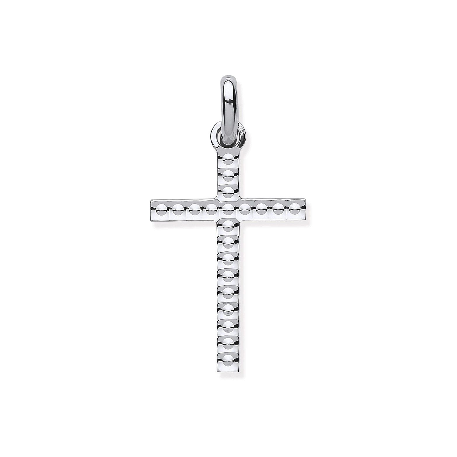 Silver Embossed Dots Cross