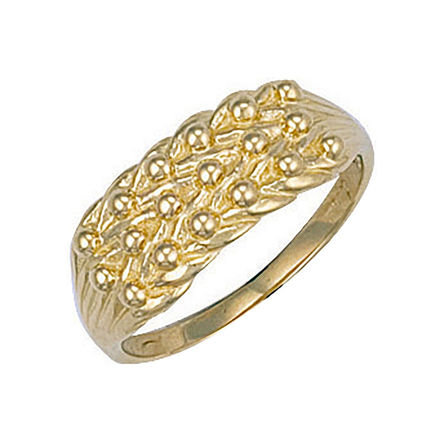 9ct Yellow Gold Light Weight 3 Row Keeper Ring 8mm