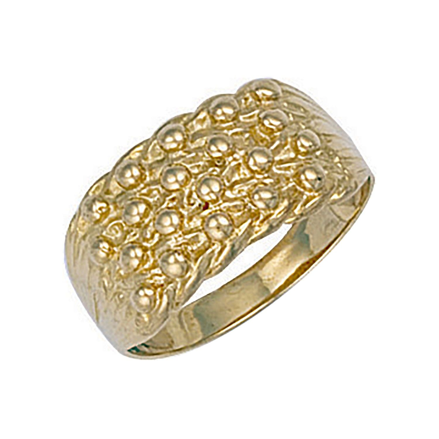 9ct Yellow Gold Light Weight 4 Row Keeper Ring 10.5mm