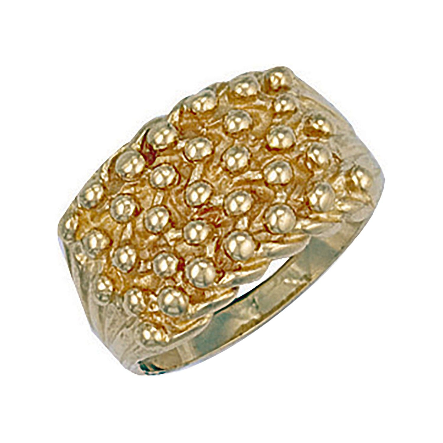 9ct Yellow Gold Woven Back 5 Row Keeper Ring 14mm
