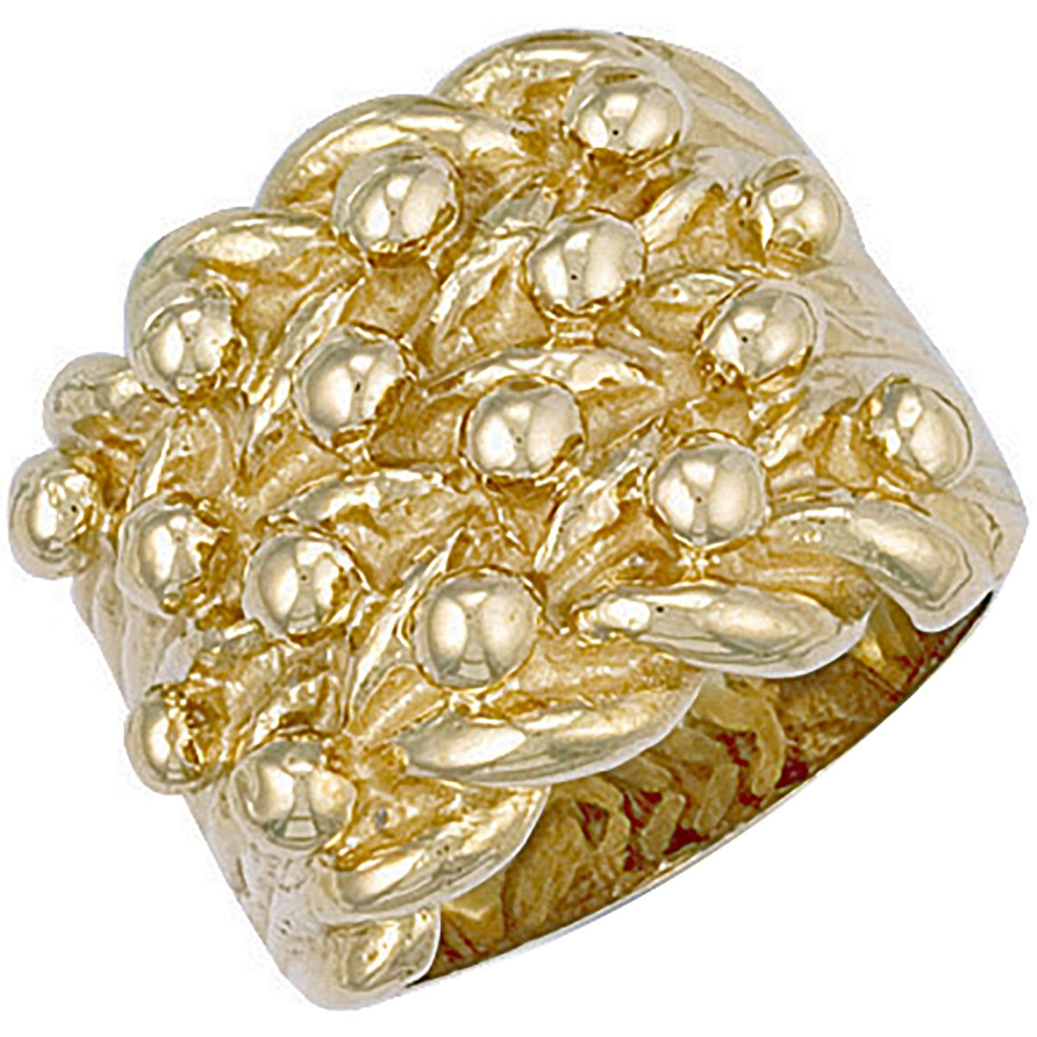 9ct Yellow Gold Woven Back 4 Row Keeper Ring 23mm