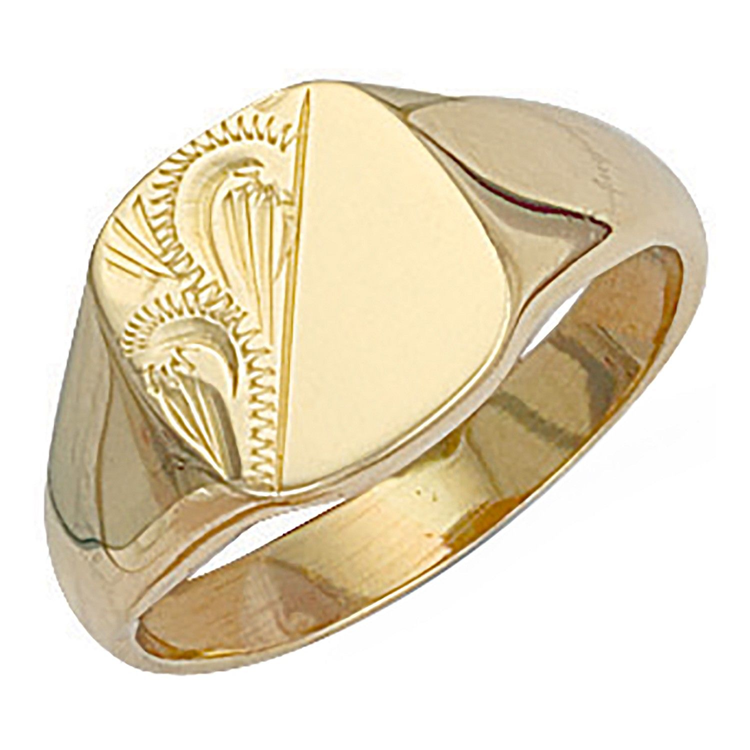 9ct Yellow Gold Cushion Engraved Signet Ring 13 x 13.5mm