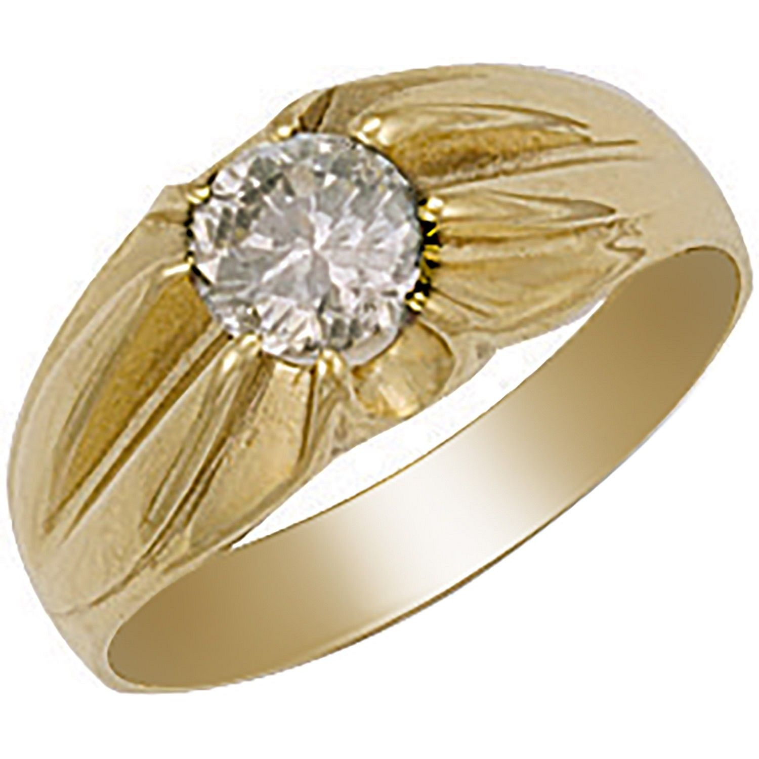 9ct Yellow Gold Cz Gipsy Ring