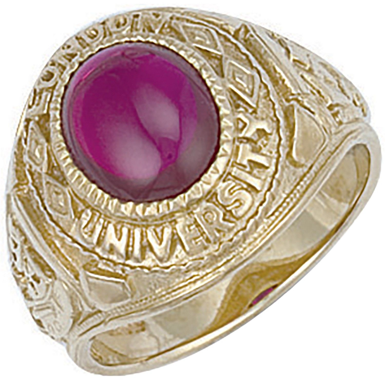 9ct Yellow Gold Red Cabochon London University Ring