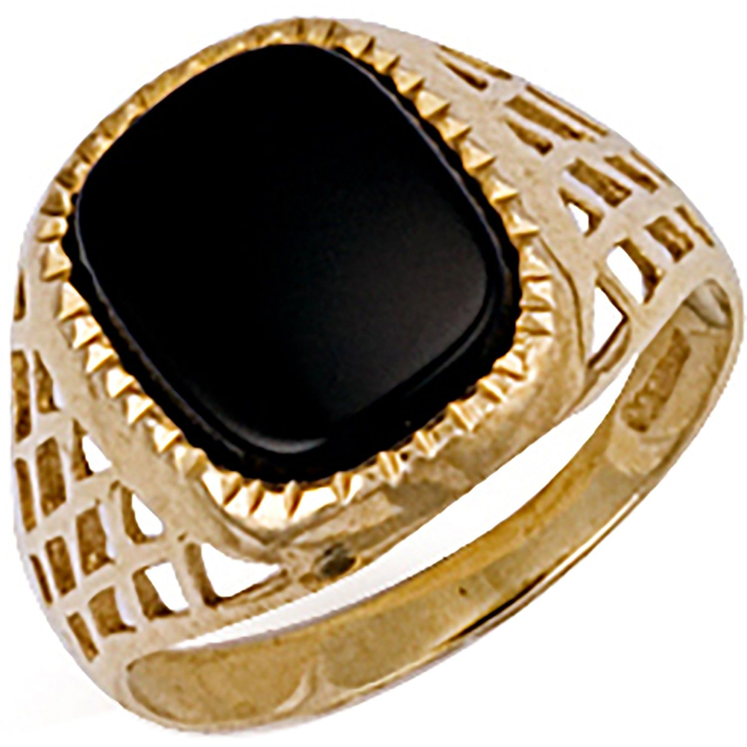 9ct Yellow Gold Basket Side Onyx Ring