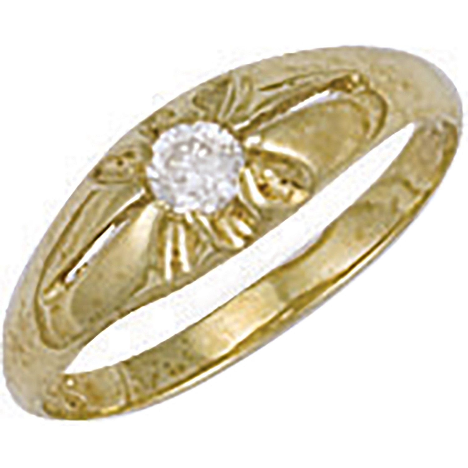 9ct Yellow Gold Cz Baby Gipsy Ring