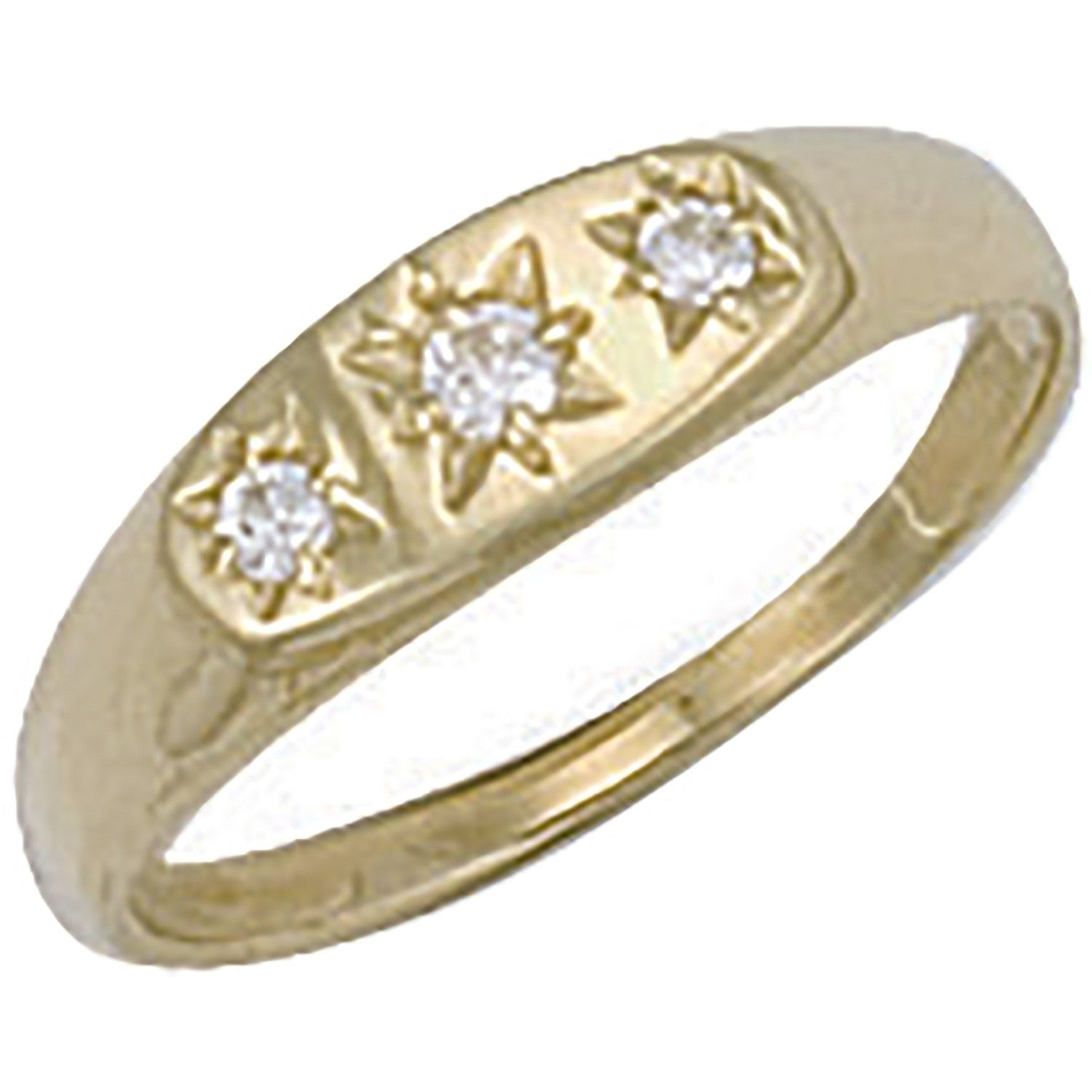 9ct Yellow Gold Cz 3 Stone Baby Gipsy Ring