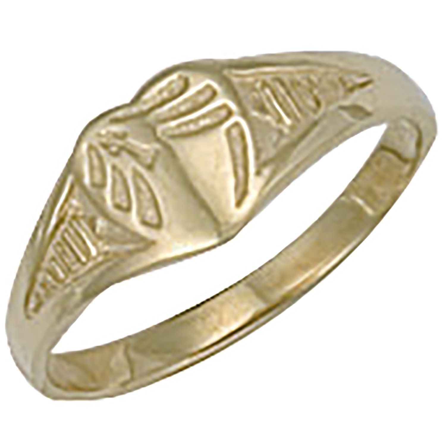 9ct Yellow Gold Baby Engraved Heart Signet Ring
