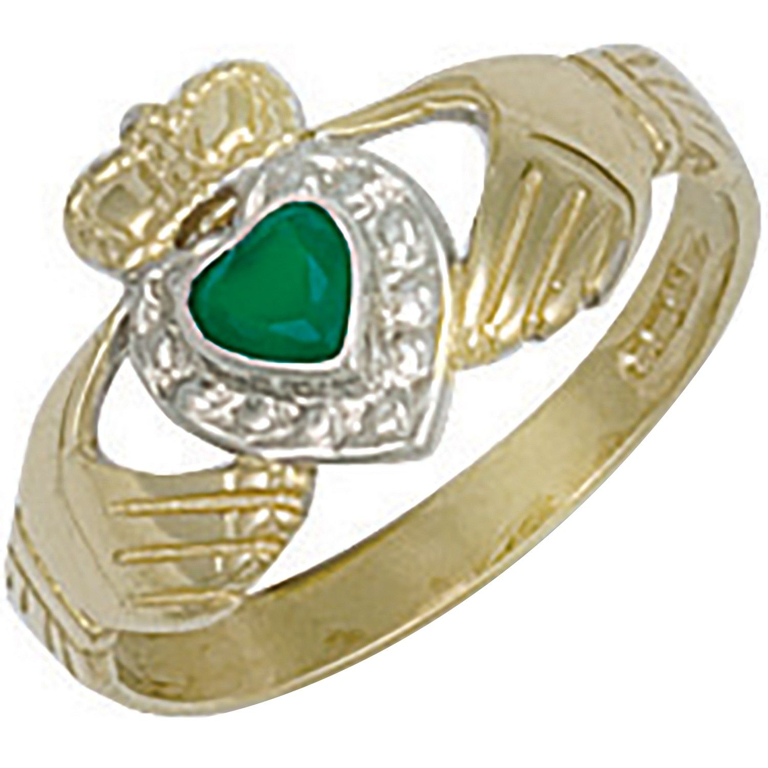 9ct Yellow Gold Cz & Agate Claddagh Ring