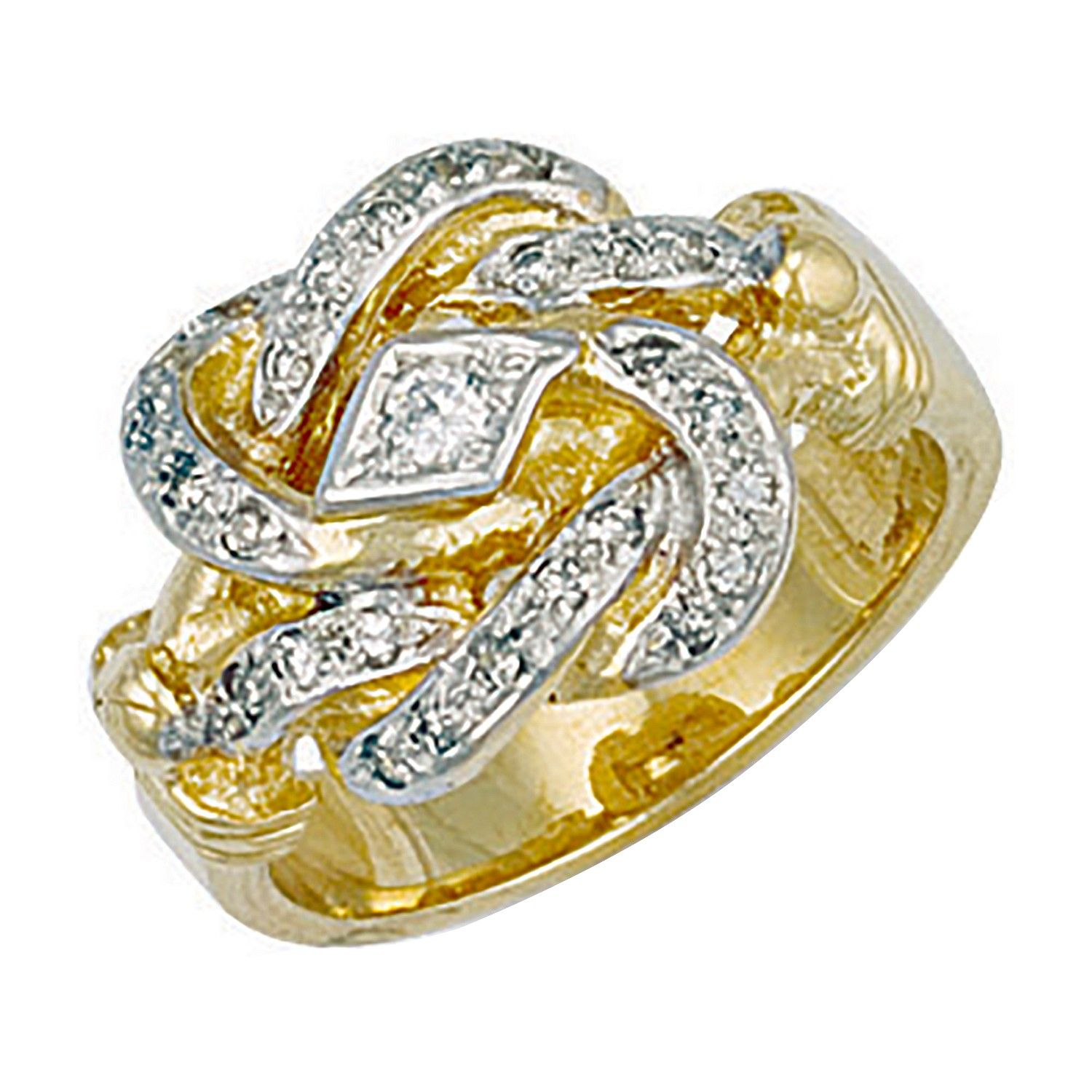 9ct Yellow Gold Cz Knot Ring