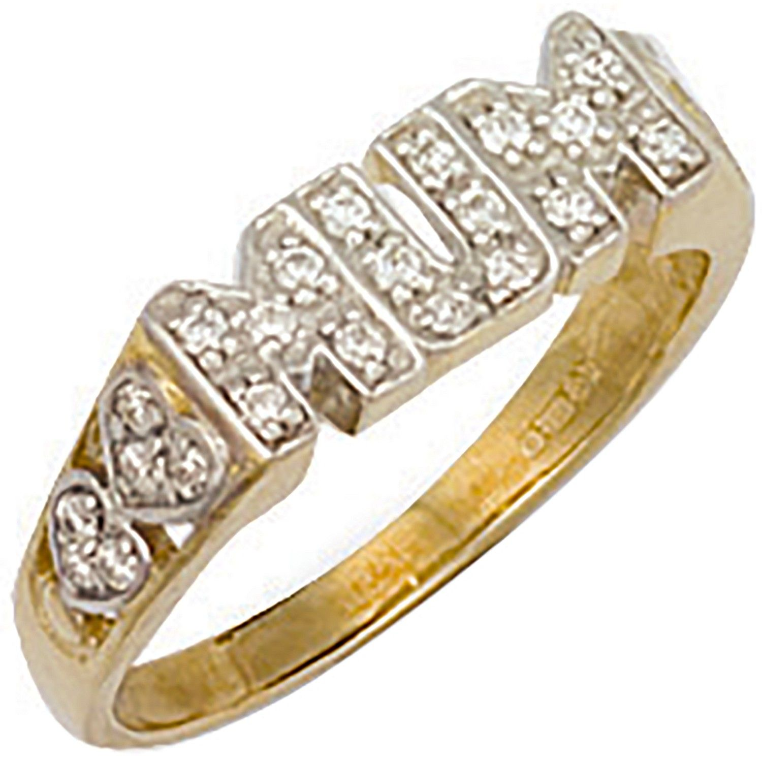 9ct Yellow Gold Cz Heart Sides Mum Ring