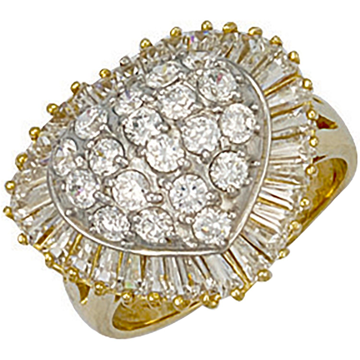 9ct Yellow Gold Cz Heart Cluster Ring