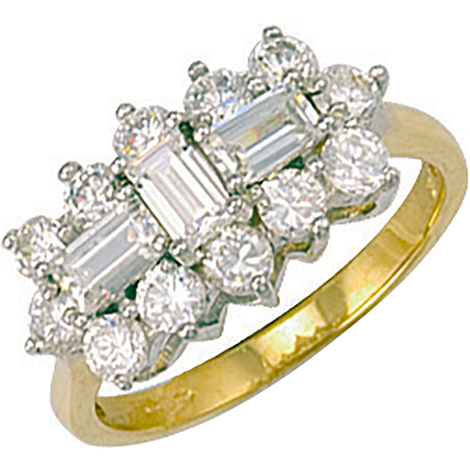 9ct Yellow Gold Cz Boat Ring
