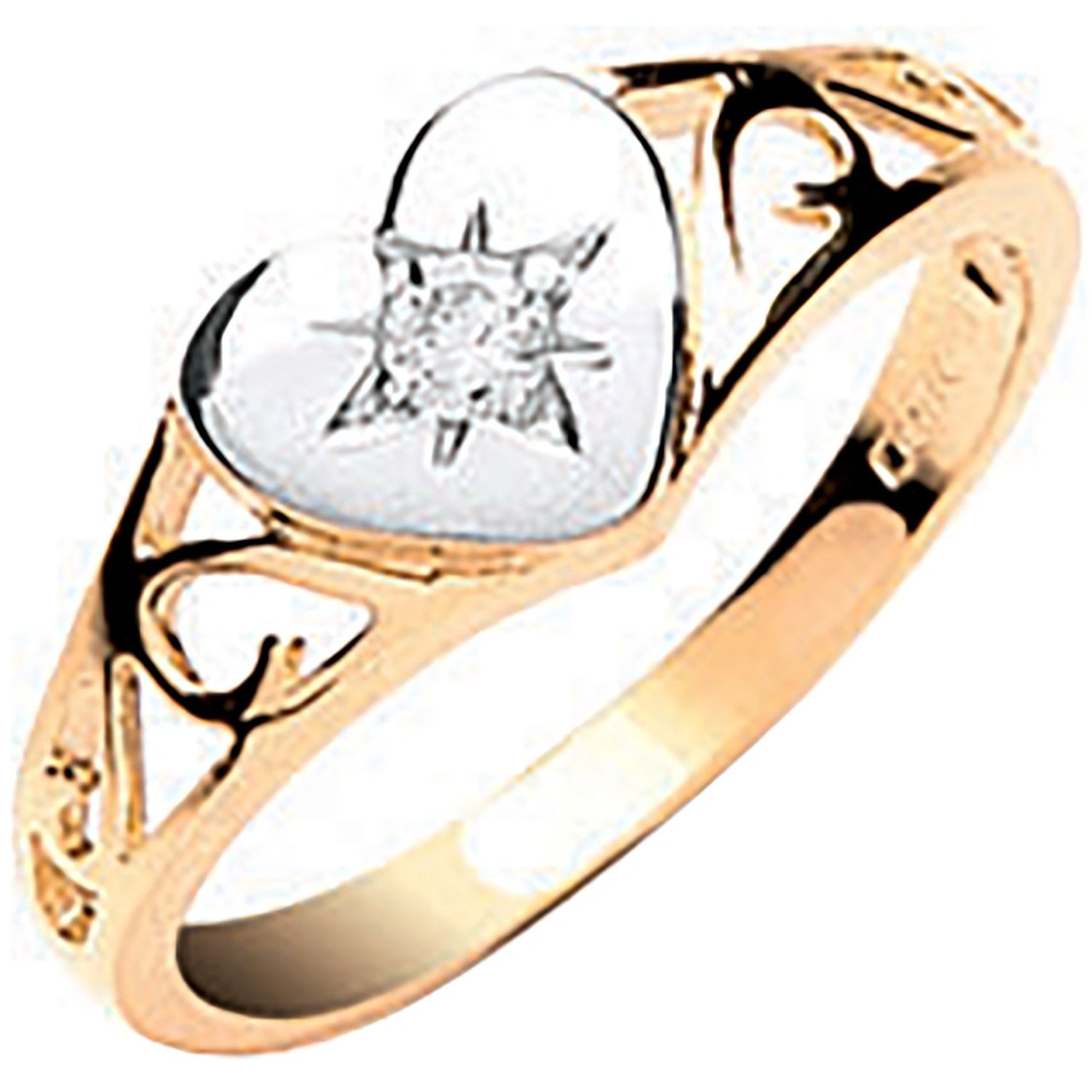 9ct Yellow Gold Baby CZ Heart Signet Ring Cubic Zirconia Gold