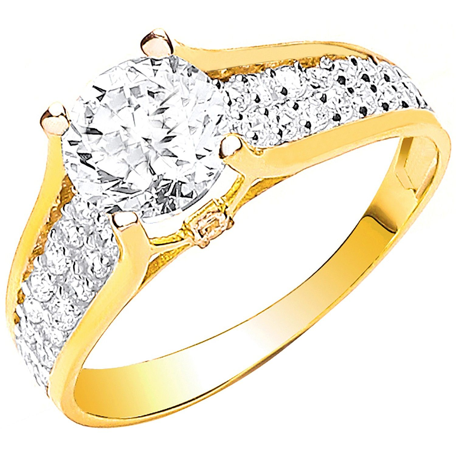 9ct Yellow Gold Ladies Single Stone Two Row Cz Shoulder Ring