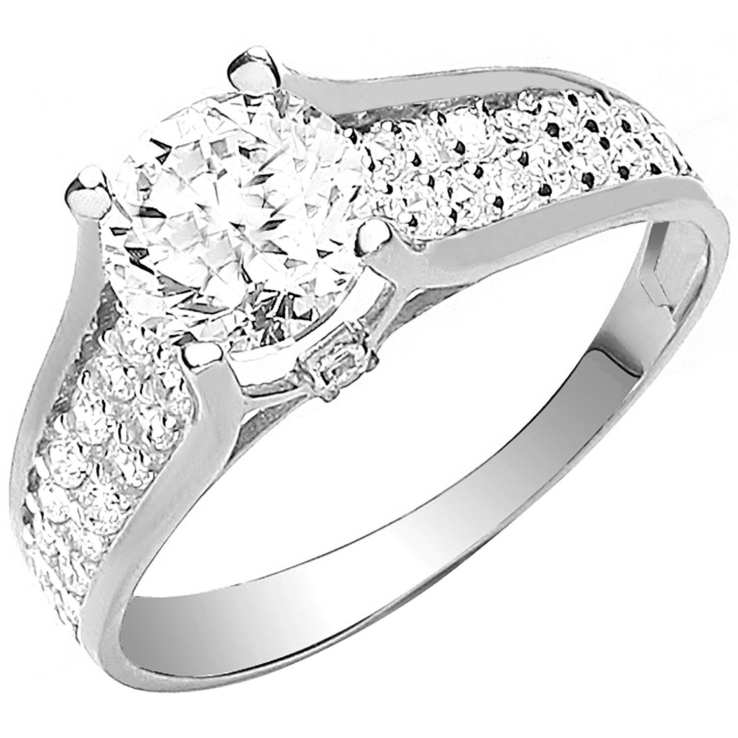 9ct  White Gold Ladies Single Stone Two Row Cz Shoulder Ring