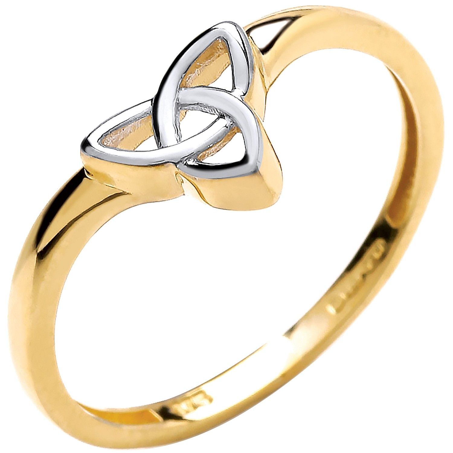 9ct Yellow and White Gold Wishbone Style Celtic Ring
