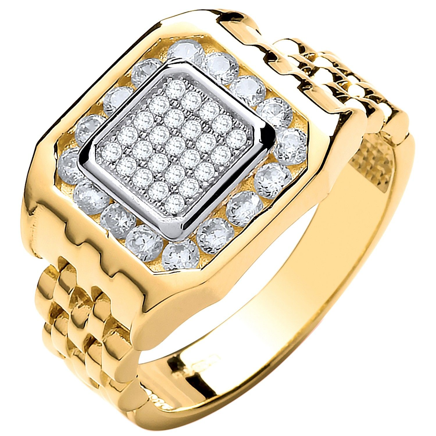 9ct Yellow Gold Panther Link & CZ's Gents Ring