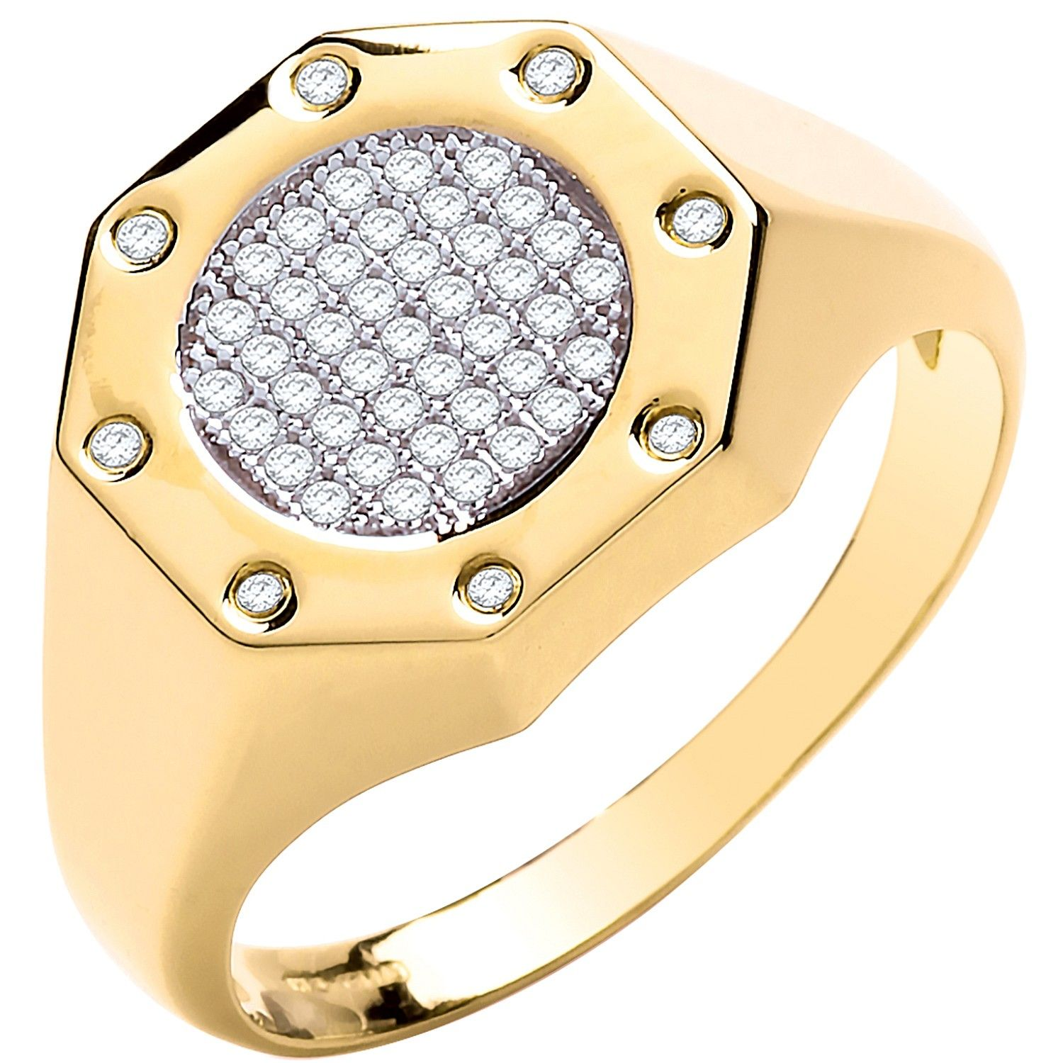 9ct Yellow Gold Octagon Top Fashion CZ Gents Ring