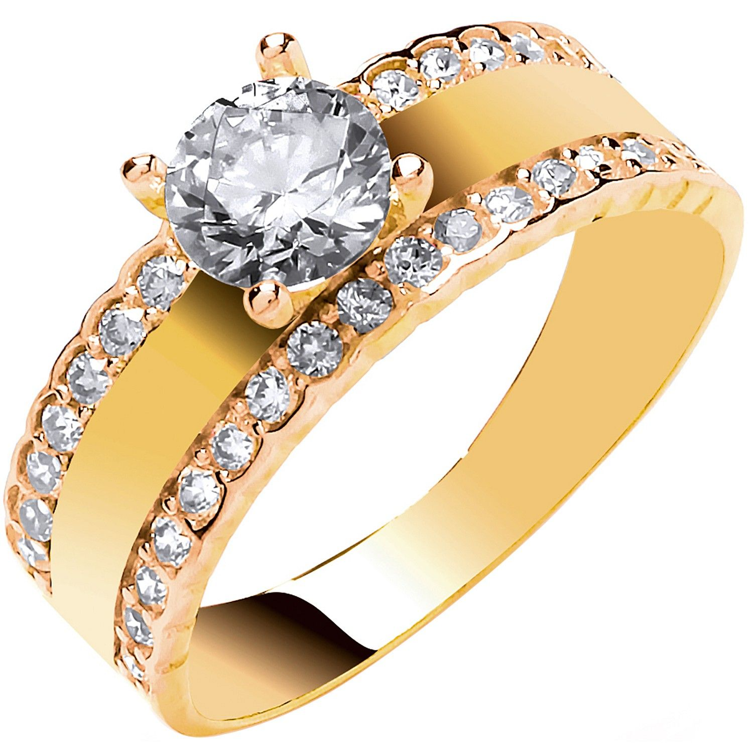 9ct Yellow Gold with Two Rows of CZ's Engagement Ring