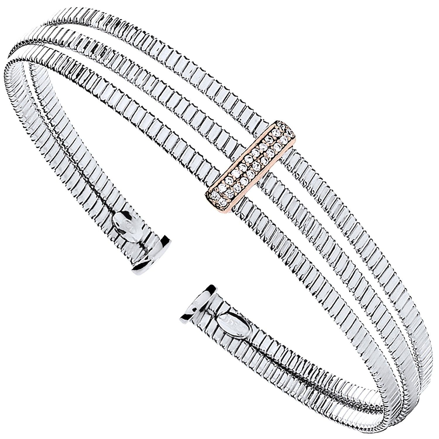 Silver 3 Rib Wires With Cz Plate Ladies Bangle