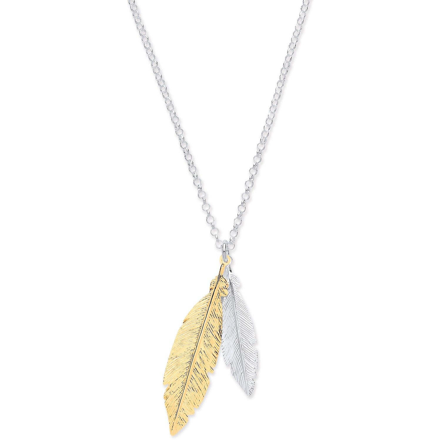 Silver & Gold Coated Feathers Necklace 16