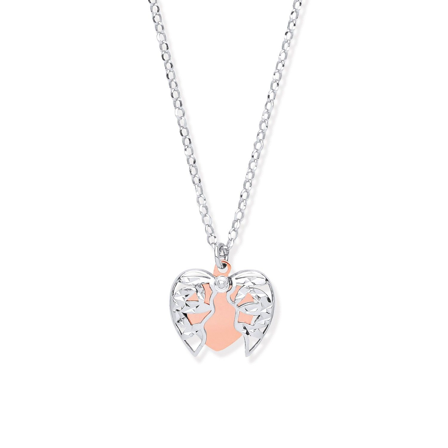 Silver with Rose Gold Plated Heart 18