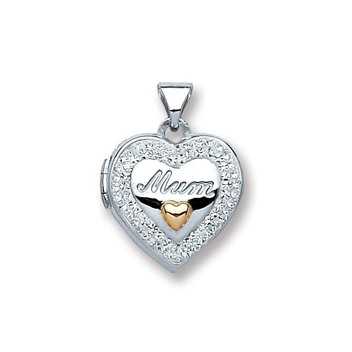 Silver Heart Mum with Crystals Locket Silver