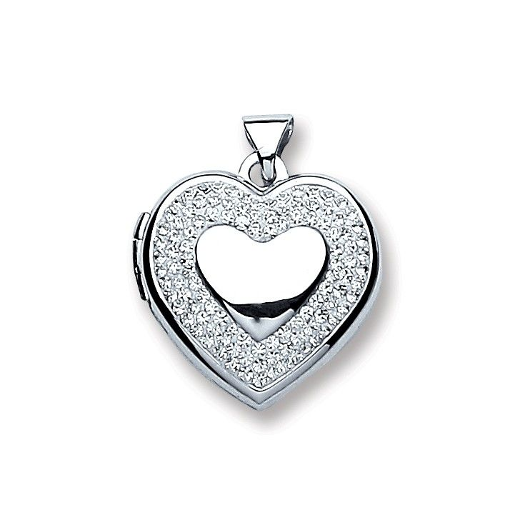 Silver Heart with Crystals Locket Silver