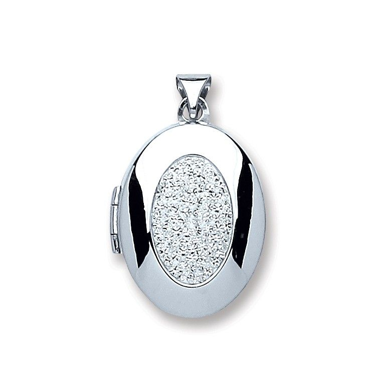 Silver Oval with Crystals Locket Silver