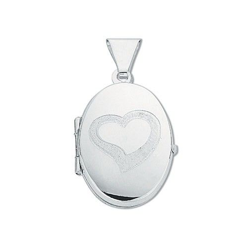 Silver Small Engraved Oval Shaped Locket Silver
